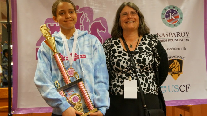 Aviva Smith earns 8th place at the Girls Nationals in Chicago April 2014. Seen here with USCF President and WIM Ruth Haring.
